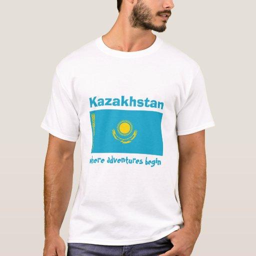 Bandera de Kazajistán + Mapa + Camiseta del texto