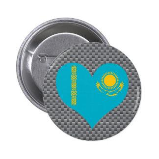 Bandera de Kazakhstani en fondo del metal
