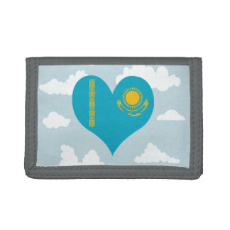 Bandera de Kazakhstani en un fondo nublado