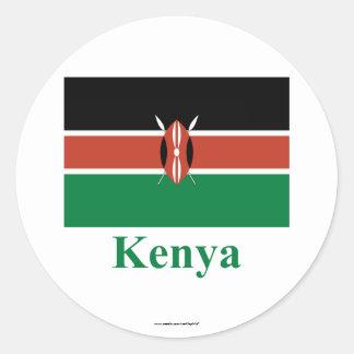 Bandera de Kenia con nombre Etiqueta Redonda