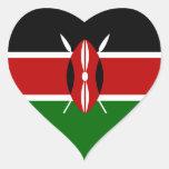 Bandera de Kenia/del Kenyan Pegatinas Corazon