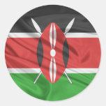 Bandera de Kenia Etiquetas Redondas