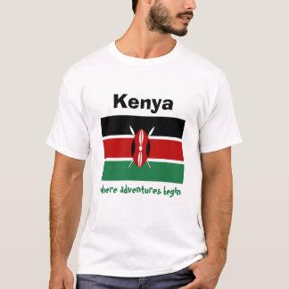 Bandera de Kenia + Mapa + Camiseta del texto