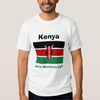 Bandera de Kenia + Mapa + Camiseta del texto Playeras