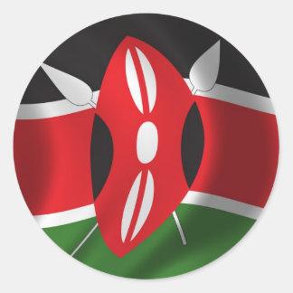 Bandera de Kenia Pegatinas Redondas