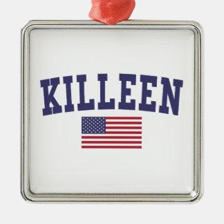 Bandera de Kingsport los E.E.U.U. Adorno Navideño Cuadrado De Metal