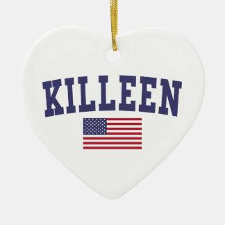 Bandera de Kingsport los E.E.U.U. Adorno Navideño De Cerámica En Forma De Corazón