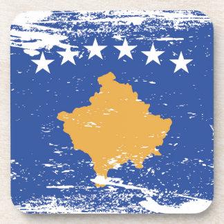 Bandera de Kosovo del Grunge Posavasos De Bebida