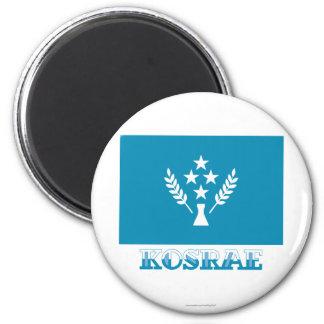 Bandera de Kosrae, con nombre Imán Redondo 5 Cm