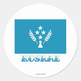 Bandera de Kosrae, con nombre Pegatina Redonda