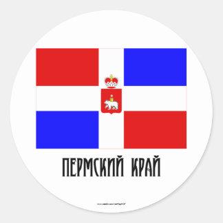 Bandera de Krai de la ondulación permanente Pegatina Redonda