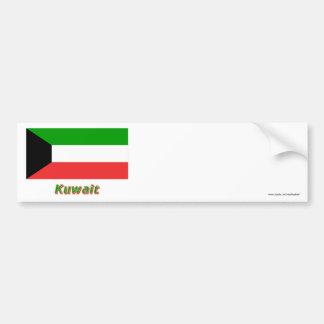 Bandera de Kuwait con nombre Pegatina De Parachoque