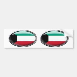 Bandera de Kuwait en el óvalo de cristal Pegatina Para Coche