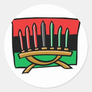 Bandera de Kwanzaa Etiqueta Redonda