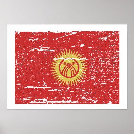 Bandera de Kyrghyzstan del vintage Póster
