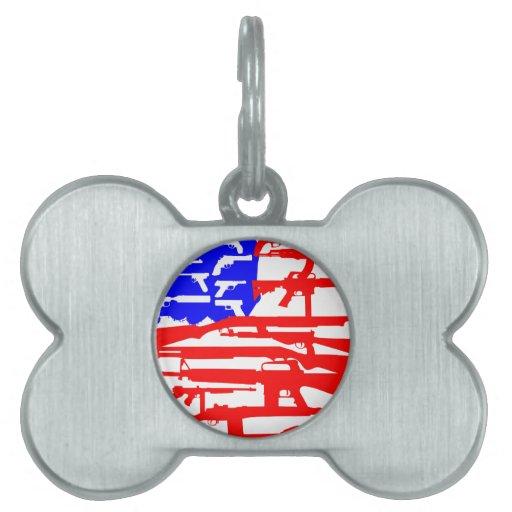 Bandera de la 2da enmienda de los armas placas de nombre de mascota