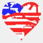 Bandera de la 2da enmienda de los armas calcomanías corazones personalizadas