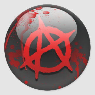 Bandera de la anarquía pegatina redonda