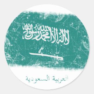 Bandera de la Arabia Saudita del Grunge Pegatina Redonda