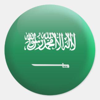 Bandera de la Arabia Saudita Pegatina Redonda