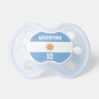 Bandera de la Argentina con su nombre y número del Chupetes De Bebe