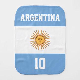 Bandera de la Argentina con su nombre y número del Paños Para Bebé
