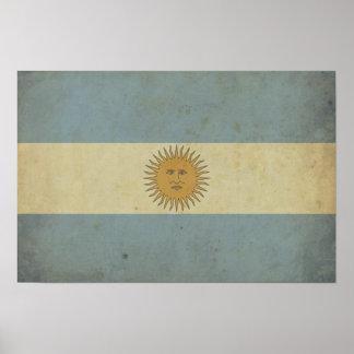 Bandera de la Argentina del vintage Impresiones