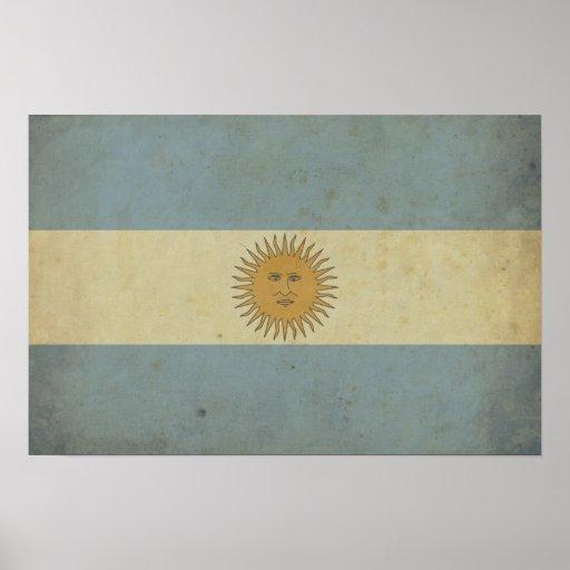 Bandera de la Argentina del vintage Póster
