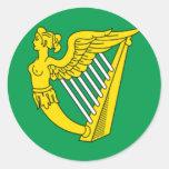 Bandera de la arpa de Irlanda Etiqueta Redonda