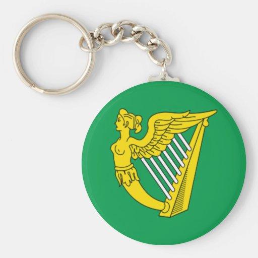 Bandera de la arpa de Irlanda Llavero Redondo Tipo Pin