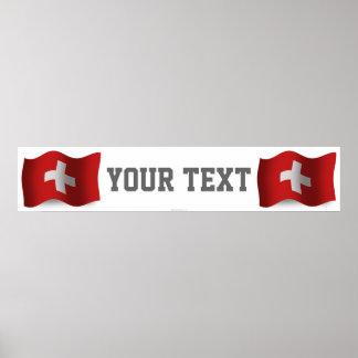 Bandera de la bandera de Suiza que agita Posters