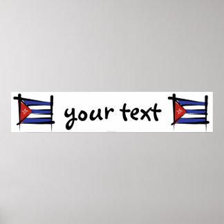Bandera de la bandera del cepillo de Cuba Posters