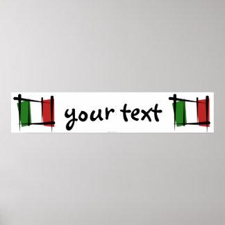 Bandera de la bandera del cepillo de Italia Poster