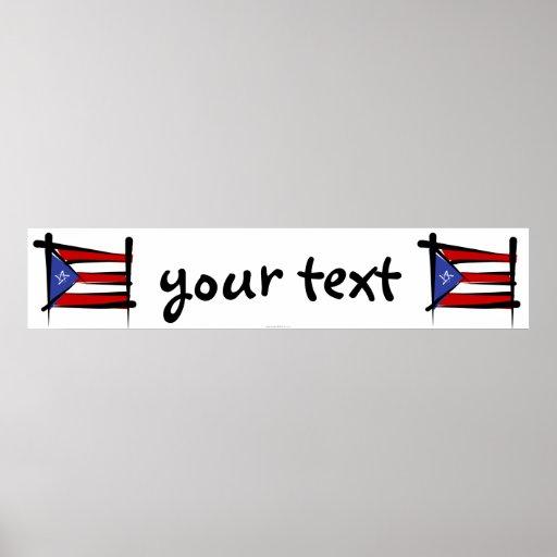 Bandera de la bandera del cepillo de Puerto Rico Impresiones