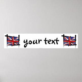 Bandera de la bandera del cepillo de Reino Unido Poster