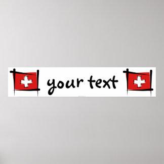 Bandera de la bandera del cepillo de Suiza Posters
