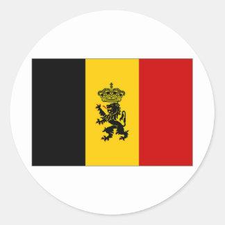 Bandera de la bandera del gobierno de Bélgica Pegatina Redonda