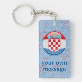 Bandera de la burbuja de Croacia Llavero Rectangular Acrílico A Doble Cara