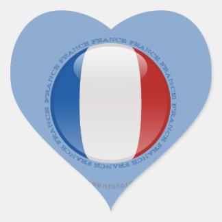 Bandera de la burbuja de Francia Pegatina En Forma De Corazón