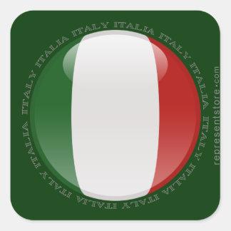 Bandera de la burbuja de Italia Calcomanía Cuadrada Personalizada