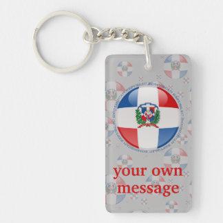 Bandera de la burbuja de la República Dominicana Llavero Rectangular Acrílico A Doble Cara