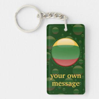 Bandera de la burbuja de Lituania Llavero Rectangular Acrílico A Doble Cara