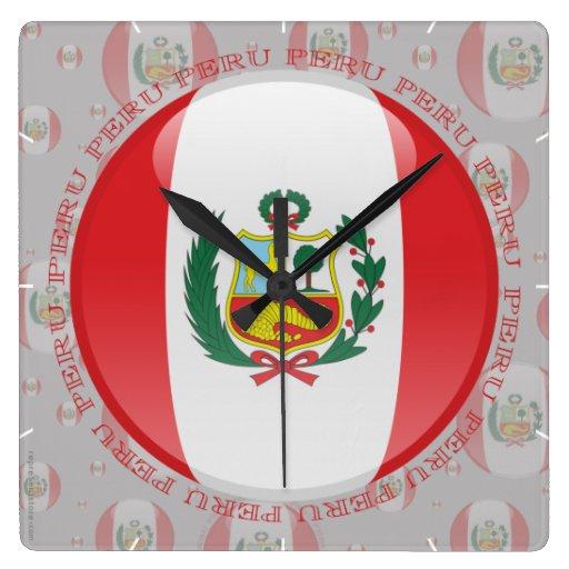 Bandera de la burbuja de Perú Reloj Cuadrado