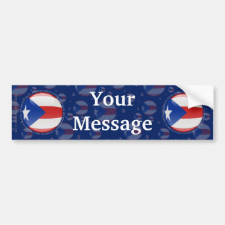 Bandera de la burbuja de Puerto Rico Etiqueta De Parachoque