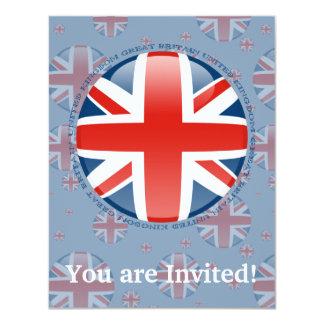 """Bandera de la burbuja de Reino Unido Invitación 4.25"""" X 5.5"""""""