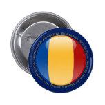 Bandera de la burbuja de Rumania Pin Redondo De 2 Pulgadas