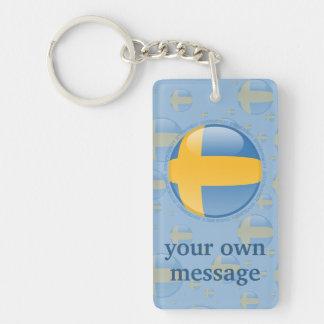 Bandera de la burbuja de Suecia Llavero Rectangular Acrílico A Doble Cara