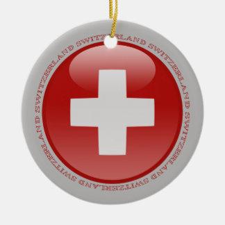 Bandera de la burbuja de Suiza Adornos De Navidad