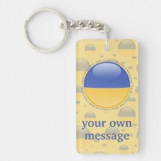 Bandera de la burbuja de Ucrania Llavero Rectangular Acrílico A Doble Cara
