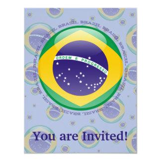 """Bandera de la burbuja del Brasil Invitación 4.25"""" X 5.5"""""""
